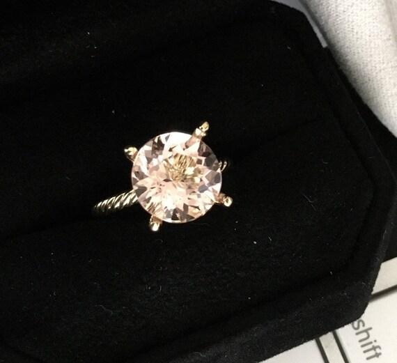 Round 4.17 carat Morganite Twist Ring 14k Rose
