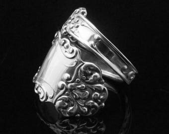 Ornate Sterling Spoon Ring, Scrolled Victorian Spoon Ring