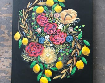 Gathering sweet & sour - oil painting - Navy and yellow - Artwork