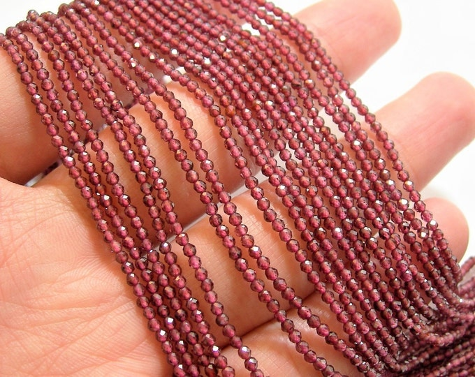Garnet - 2mm faceted round beads - 1 full strand - 197 beads - Garnet micro faceted - AA quality - PG91