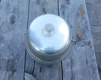 """Kromex vintage ice bucket Enduringly Beautiful with clear plastic/lucite handles and nob on the top 6 1/4"""" tall bucket ready for your party"""