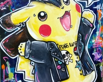 Pikachu   - Archival Fine Art Print 11x14 Punkachu Pokemon Art Cute Punk