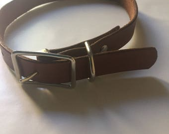 Custom Name Dog Collar | leather adjustable customizable initial silver hardware handmade old english pet collar