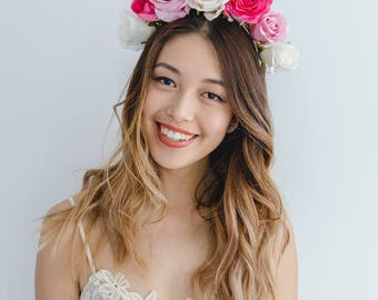 pink spring races flower crown fascinator // spring flower crown / spring racing flower headpiece / spring carnival / pink flower crown