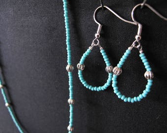 Aqua and Silver Earring Necklace Set
