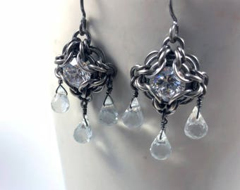 Elizabeth Earrings Oxidized Sterling Silver with Sparkling Cubic Zirconia and Clear Quartz Chainmaille
