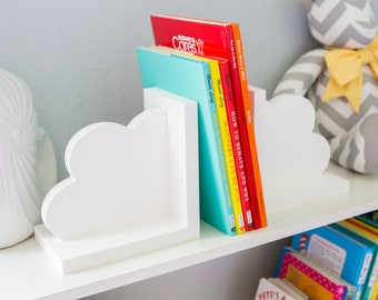 Cloud Bookends for Kids Room Baby Nursery Decor Bedroom Book End Clouds for Shelves - Decorations for Room or Nursery(Item - CBK500)
