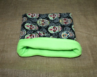 MEDIUM Lime Green Sugar Skull Pouch for Small Pets- Guinea pigs, Rats, Rodents, Hedgehogs and more!