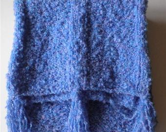 Bulky Blue Scarf Chunky Long Scarves, Oversize Knit Scarf, Knitted Cotton Acrylic Oversized Trendy Knitwear Extra Long Scarves