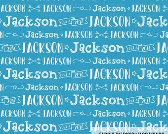 Personalized Boy Name Fabric - Newborn Baby Child Name and Birth Date Customized Print by the Yard & Fat Quarter