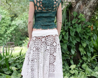 Cropped Merino Wool Crochet Mandala Vest Sweater Size S/M