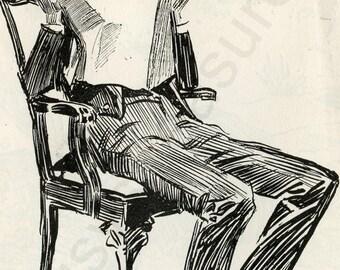 "Digital Ephemera for Collage, Scrapbooking and Cardmaking - ""An Explanation "" Instant Download - Vintage Inspired Illustration"