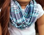 18 Inch Doll Infinity Scarf Blue Plaid, Doll Clothes, Doll Back To School, Blue Doll Scarf