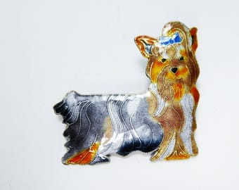 vintage shih tzu dog pin glass enamel on silver hand painted enamel dogs brooch