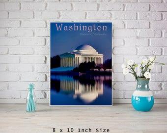 America 8x10 Art Print Washington DC Poster Jefferson Memorial Night Sky Art USA City Wall Art US Capital Blue Wall Art