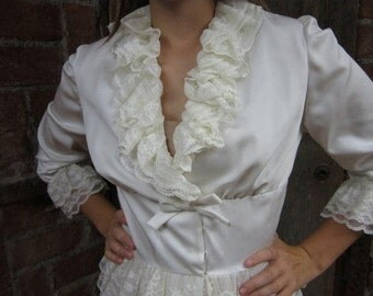 On Sale Vintage 1960s-1970s Dress White LACE RUFFLES Layered Wrap Front Ruffle Collar-Cuffs-Skirt Bow