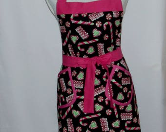 Christmas Apron, Full Long Bib With Pockets, Mom, Sister, Matching Family Aprons, Custom Gift, Personalize With Name, Ships TODAY AGFT 1233