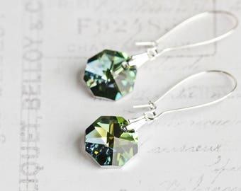 Blue Green Vitrail Crystal Dangle Earrings on Silver Plated Hooks
