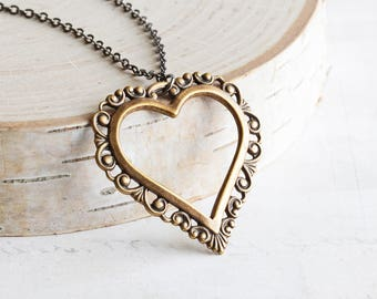 Large Antiqued Gold Plated Filigree Heart Necklace on Gunmetal Plated Chain