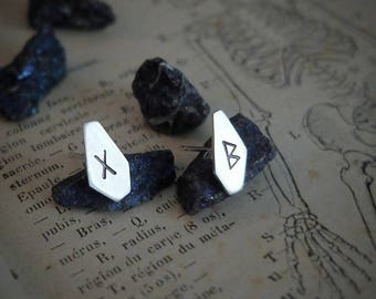 Runic ear posts, custom (sterling silver, your choice of rune)