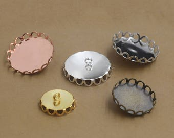 50PCS Brass Lace Edged 10/ 12/ 14/ 15/ 16/ 18/ 20/ 25mm Round Bezel W/ Ring in Color Silver/ Gold/ Rose Gold/ White Gold/ Gun-Metal - Z6831