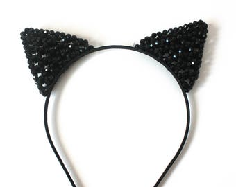 Sale BLACK CAT EARS Headband Halloween Choose Lace Sequin or Beaded Catwoman Cat Costume Birthday Party Hat Bridal Shower Bachelorette Prop