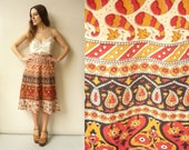 Vintage Indian Hippie Woodblock Printed Cotton Wrap Skirt One Size