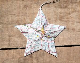 Peoria, Illinois - Vintage Map Covered Star Ornament - IL, Home Decor, East Coast, 3 Dimensional, Christmas, Tree, Travel