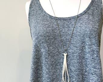Long tan leather tassel necklace // long boho chic necklace //boho tassel necklace // bohemian style necklace // strand tassel necklace