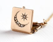Star & Moon Locket - 10k Solid Gold Antique Rose Cut Diamond Necklace - Vintage Square Fob Victorian Edwardian Early 1900s Fine Jewelry