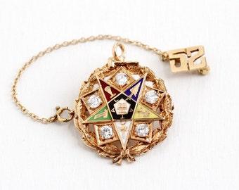 Sale - Vintage 14k & 10k Rose Gold Order of the Eastern Star Enamel Pendant Pin - 1950s '52 OES Laurel Wreath Pendant Mason Fine Jewelry
