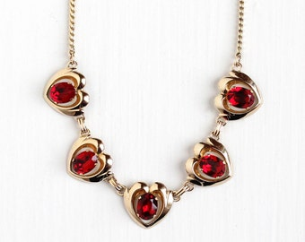 Sale - Vintage 12k Yellow Gold Filled Red Rhinestone Heart Necklace - Retro 1950s Valentine's Day Simulated Ruby Jewelry Signed Van Dell
