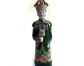 RARE Vintage Wucai Porcelain Chinese Emperor Qing Imperial Dynasty - Empress Dowager Cixi