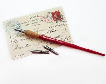 Red Pen Holder and Three Nibs, Eagle Pencil Co.