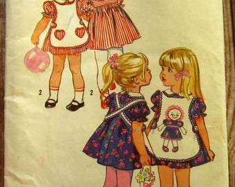 Vintage 1970s Toddler Girls Dress and Apron Size 4 Simplicity Pattern 9731 UNCUT