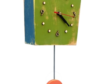 Pendulum wall clock, Wall hanging clock Green, Orange, Blue, Unique gift, Distressed wall clock, Back to school