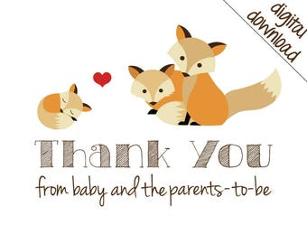 Printable Thank You Cards - Gender Neutral Fox Family Shower Thank-Yous - Digital Download