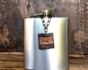 Personalized Flask Tag. Custom Flask Tag. Groomsman Flask Label. Groomsmen Flask Tags. Brass Copper Metal Tags. Home Bar Decanter Label, Tag