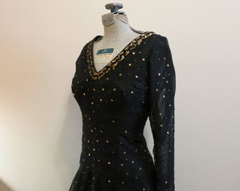 Dress black sequined sequins gold chiffon organza dance circle skirt cocktail party 1950s vintage S