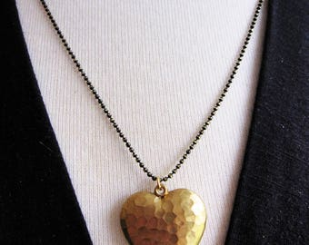 Brass Heart Necklace, Black Shimmer Chain, Puffy Heart, Long Necklace, Modern Jewelry, Layering Necklace, Heart Pendant, Redpeonycreations