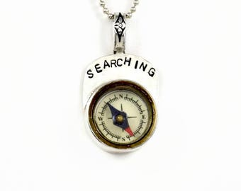 Working Compass Jewelry, Sterling Compass Jewelry For Women, Meaningful Sterling Jewelry, Robin Wade Jewelry, Searching Compass Pendant,2471