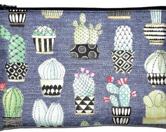 Large Cactus Succulent Coin Purse Zipper Pouch Wallet ID Card Holder Zippered Pouch Change Purse Gift Idea