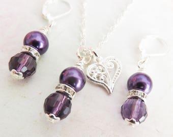 Purple flower girl jewelry set, little girl pearl necklace, childrens pearl earrings, junior bridesmaid gift, clip on earrings