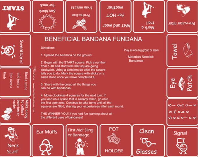 New! Beneficial Bandana Fundanas! A fun, interactive game showing all the practical uses of bandanas! Great for camps, scouts, 4-H, YMCA!