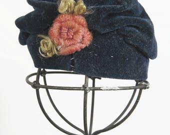 Velvet Doll Cloche Hat, Flower Trim, Antique Flapper Ruched Fashion Bonnet, Navy Blue