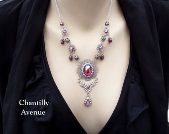 Ruby AB Art Nouveau Necklace, Victorian Necklace, Belle Epoque Bohemian Jewelry, Red Jewel Necklace, Victorian Jewelry