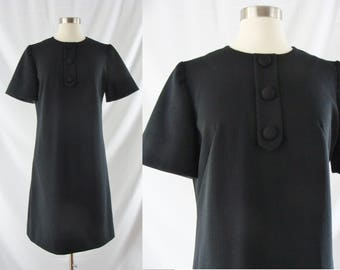 SALE Vintage Sixties Dress - 1960's Black Mod Shift Dress - 60s A-Line Mod Dress - Medium / Large
