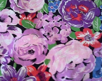 Beautiful Floral Print Cotton Fabric 3 Yards X0996 Purple, Pink, Blue and Red
