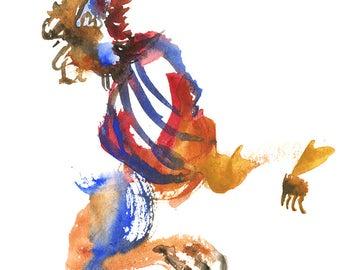 "Small Unique Original Surreal Abstract Watercolor Tribal Figure Art, 6"" x 6"" - 255"