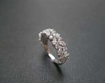 Marquise Wedding Band Half Eternity Ring Diamond